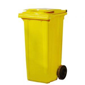 Полиетиленова кофа за смет на колела, 120 литра, жълта